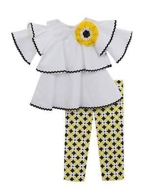 Rare Editions White Black Yellow Ruffled Top & Capri Set  Girls 4 5 -