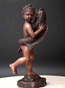 Bronze-Fountain-Nude-Boy-Dolphin-Art-Sculpture-w-Pump