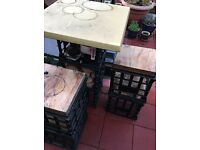 Trendy table and stools (made with Melbourne milk crates)