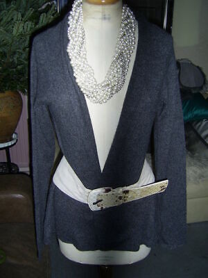 easy new dark grey EDINA RONAY long 100% cashmere edge to edge CARDIGAN med bnwt ()
