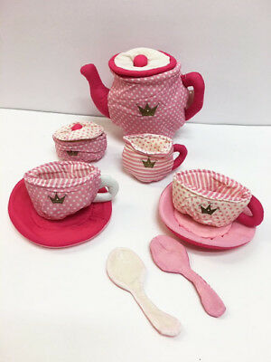 (New Toddlers Girl's Pink Princess Cloth Non Breakable Play Tea Set)