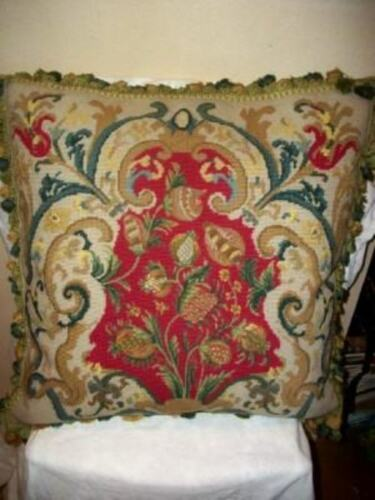 FRENCH SCROLLS AUBUSSON NEEDLEPOINT HUGE FEATHER CUSHION PILLOW FLORAL FIGS