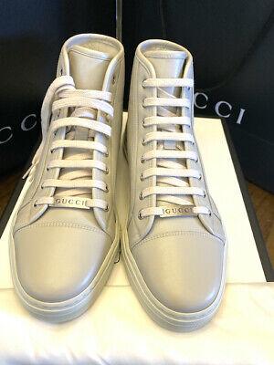 Gucci Men's 423300 Mystic White Leather Mirosoft Logo High Top Gucci 8 US SIZE 9