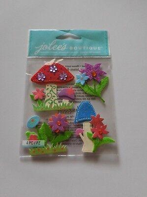 Scrapbooking Crafts Jolees Stickers Stitched Mushrooms Felt Flowers Grass Gems