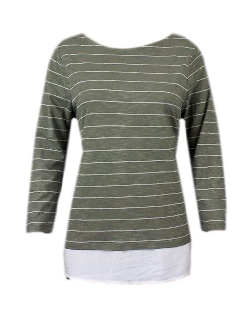 New Ex M/&S Striped Jersey 3//4 Sleeve Casual Top Size 10-24 Khaki  /& Cream
