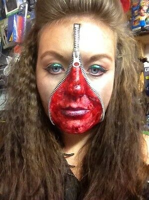 Zipper Set Bloody Scab Zombie Make Up Halloween FX Scar Fake Blood Face - Make Zipper Face Halloween