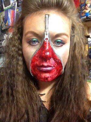 Zipper Zombie Makeup (Zipper Set Bloody Scab Zombie Make Up Halloween FX Scar Fake Blood Face)
