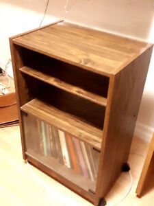 Vintage 1980's Record Player Stand & Album Storage Rolling Table