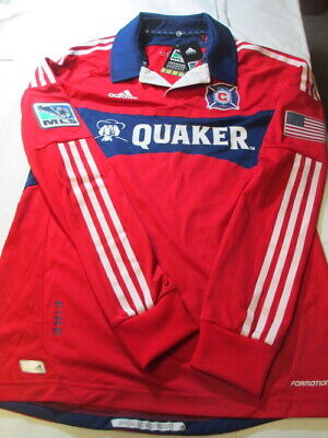 NWT Chicago Fire MLS Long Sleeve Adidas Jersey - NEW - Red w/ Quaker Logo Size M Fire Long Sleeve Jersey