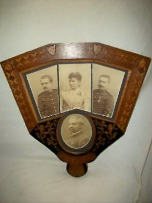 ANTIQUE FRENCH MARQUETRY INLAY PICTURE FRAME FAN 1889 LIONS SHEILDS STUNNING Fan Picture Frame