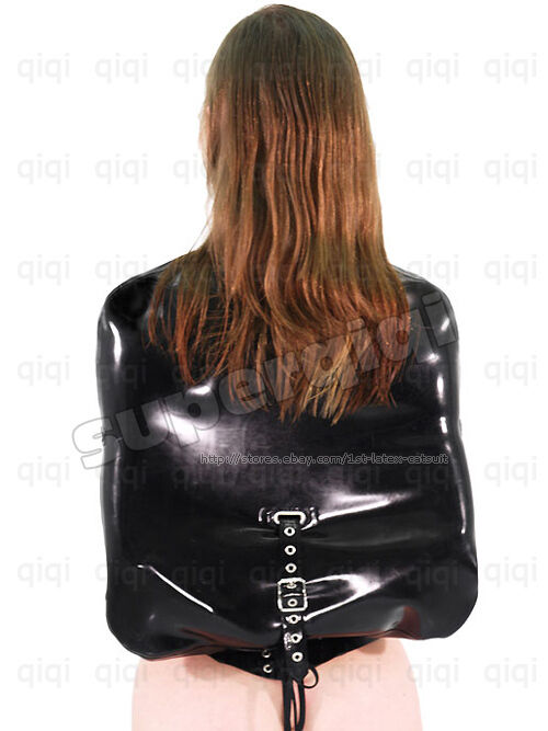 100% Latex Rubber Straight Jacket Coat catsuit binder Customize 0.8mm
