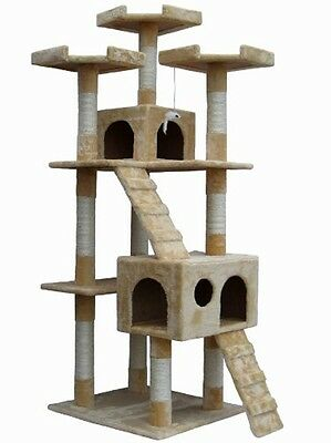 Shop4Omni 72 Inch Beige Cat Tree Lounge Tower Kitty Condo with Scratching Posts