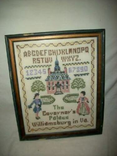 VINTAGE CROSS STITCH SAMPLER ABC LINEN COLONIAL WILLIAMSBURG MID CENTURY