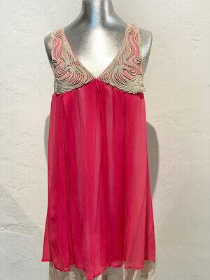 New Saivana Women's Hot Pink Silk Chiffon Swirl Piping Bodice Halter Dress - Bodice Silk Halter Dress