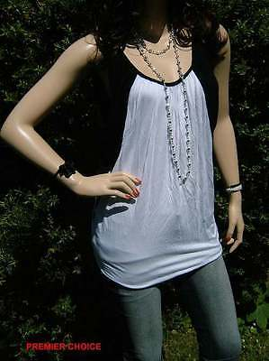 24/5 NEW  WHITE BLACK PANEL SLEEVELESS TOP WITH FREE SILVER BEAD NECKLACE 10