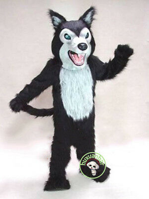 Black Wolf Husky Dog Mascot Costume Long Fur Adults Cosplay Fancy Dress - Black Parade Kostüm