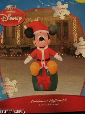 GEMMY AIRBLOWN HOLIDAY MICKEY MOUSE LIGHTED OUTDOOR INFLATABLE DECOR~4 FT~NIB