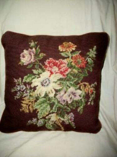 RALPH LAUREN FLORAL NEEDLEPOINT FEATHER PILLOW PLUM VELVET VINTAGE BRITTANY