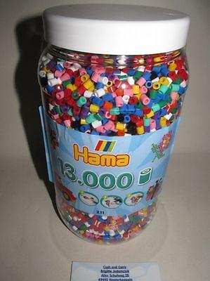 Hama midi 211-00 Bügelperlen Dose in Vollton Farben Inhalt 13000 Stück NEU