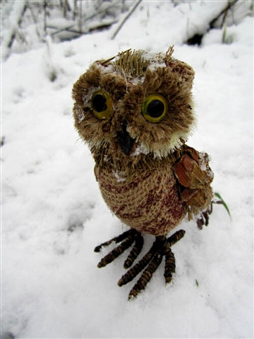 Mini Coffee Sack Owl Christmas Decoration by Shoeless Joe