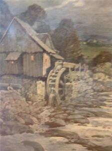 SIGNED PAINTING ON BOARD NEAL NEWMINNIS ? 1922 Water wheel paint