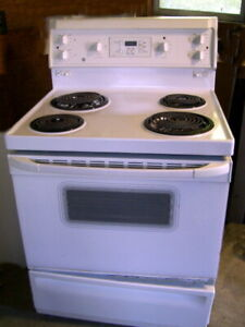 White GE Stove with Electronic Controls