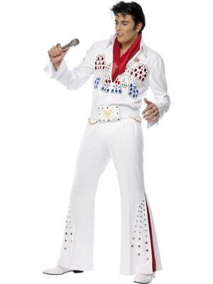 n Kostüm Elvis weiß American Eagle Rockstar Größe M (Herren Elvis Kostüm)