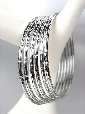 STYLSH 6 PCS Silver Plated Metal Bamboo Style PLUS SIZE Bangle Bracelets (Circle Silver Plated Bracelet)