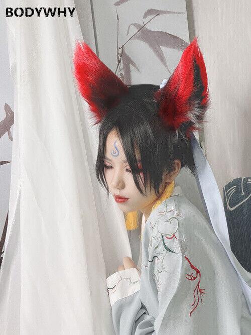 2020 women men new fox ears wolf ears cosplay red beast ears hair hoop headdress