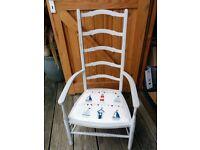 Pretty ladderback chair. 'Fryetts' Beach Huts fabric seat.