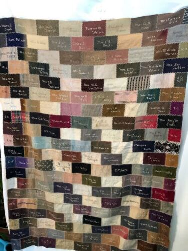 Antique Rare 1900s New England Signature Embroidery Patchwork Quilt Top Nice!