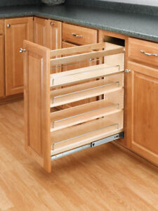 Base Cabinet Pullout Organizer with Wood Adjustable Shelves