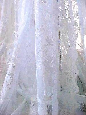 SHABBY FRENCH Snow-white VINTAGE ROSES LACE COTTAGE CHIC DRAPE CURTAIN PANEL 63 LONG