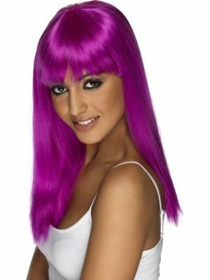Perücke Neon lila Karneval Fasching Kostüm Zubehör (Glamour Perücke)