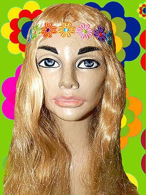 A31 - 70er Jahre Hippie Woodstock Festival Blumenkinder Blumen Stirnband bunt