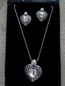 JACQUELINE KENT HEART NECKLACE AND EARRING SET