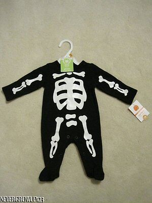 CARTERS HALLOWEEN GLOW-IN-THE DARK SKELETON OUTFIT~COSTUME~NEWBORN~3 M~6 M~9 M~N