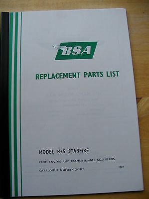 00-5197 SPARE PARTS BOOK BSA B25 STARFIRE 1969 vital reference catalogue