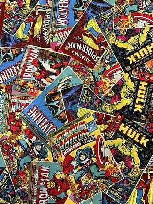 Marvel Avengers - Comic Book Covers - Fabric Material