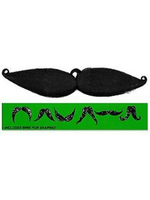 Fake Black Flexi Moustache Tache Clip On False Tash Joke Mexican Bend to Shape