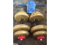 Set of York Dumbbell Weights & Exercise Wheel