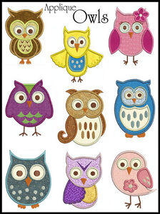 OWLS * Machine Applique Embroidery * 9 Designs, 2 sizes