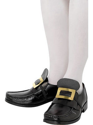 COLONIAL PILGRIM SHOE BUCKLES BLACK GOLD RENAISSANCE COSTUME SHOE BUCKLES 20252 - Colonial Shoe Buckles