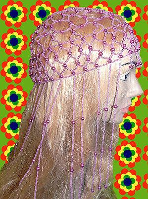 A44✪ 60er 70er Jahre Revival  Haarnetz Perlen Fransen Mama Mia lila