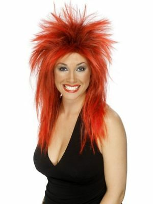 80er Damen Rock Star Diva Perücke Rot Karneval Rockstar Kostüm Zubehör (Damen Rockstar Kostüm)