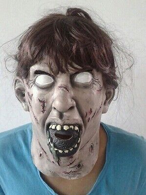 The Exorcist mask Full head With Wig latex Linda Blair Possessed Halloween Demon