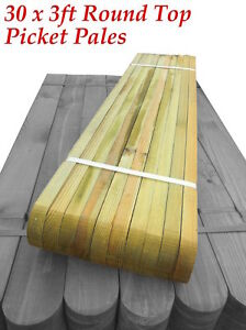 30-3ft-x-3-WIDE-ROUND-TOPPED-PICKETS-GARDEN-BOUNDARY-FENCE-PICKET-PANELS-PALES
