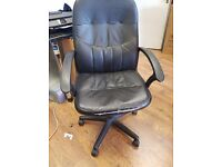 Black Office Desk Leather Chair with adjustment
