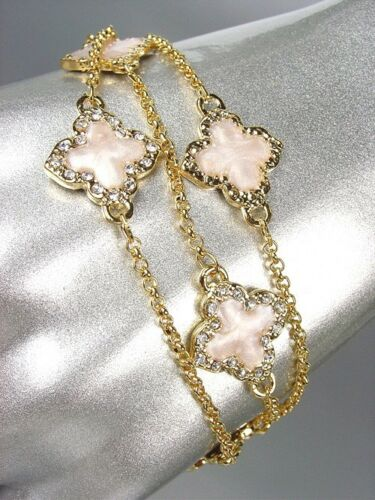 exquisite 18kt gold plated chains white enamel