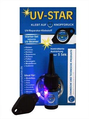 3g Glas (UV Kleber Klebstoff Set inkl. Leuchte Spezialkleber Glaskleber 3g MW)